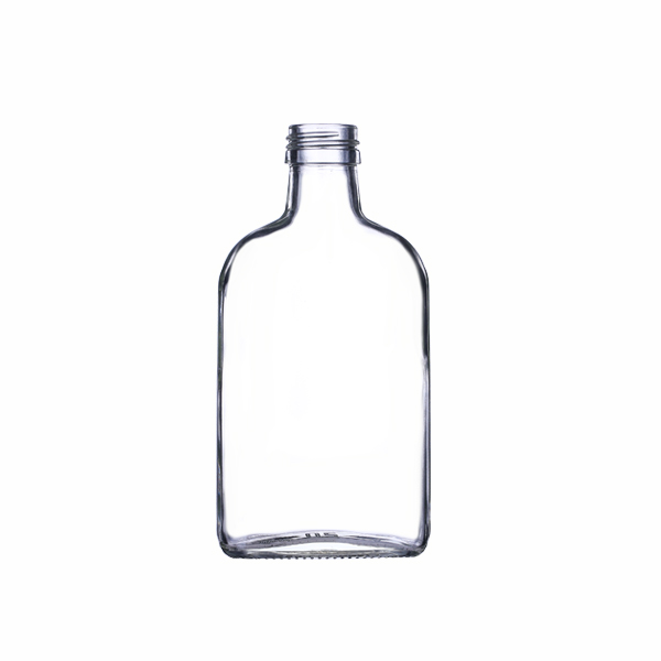250ml Glass Flat Clear Liquor Flask With Aluminium Cap