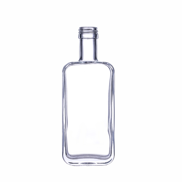 250ml Empty Glass Flat Liquor Bottle With Plastic Cap