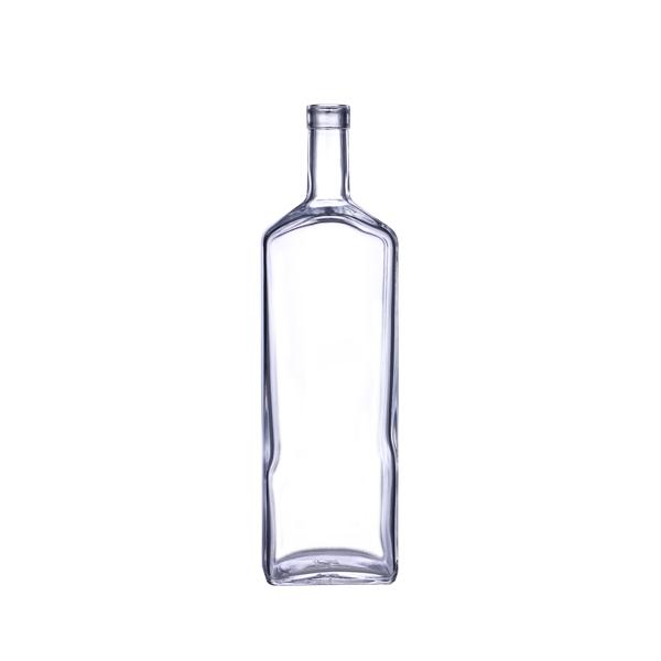 750 ml Clear Glass Flat Liquor Bottle