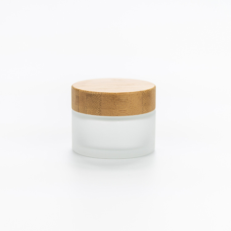 Wholesale cosmetic 30ml 50ml frosted bamboo glass jar for cosmetic cream