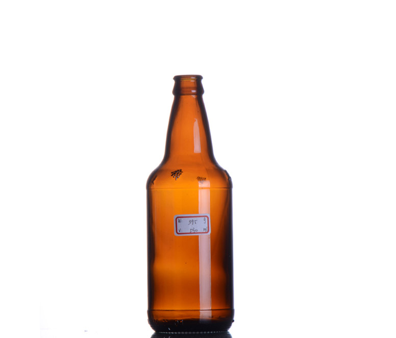 Glass beer bottle with crown cap