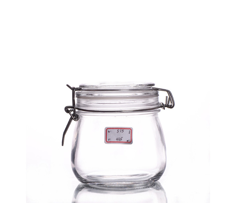 glass jar with lid clasp
