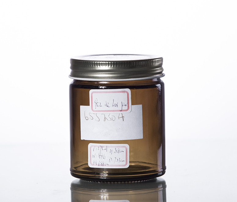 9 oz amber cylinder glass jar with CT finish