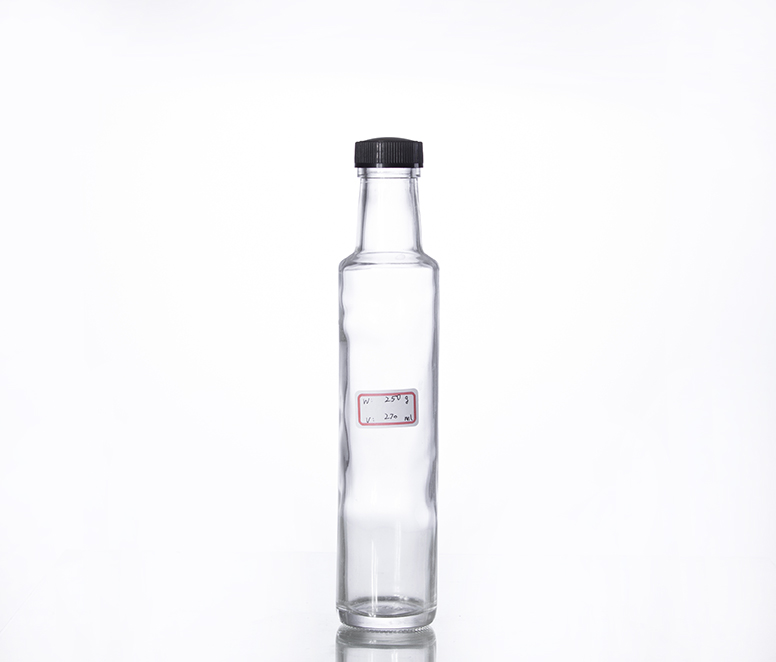 250ML clear round shape olive oil glass bottle