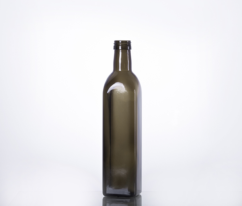 500ml square dark green glass olive oil bottle