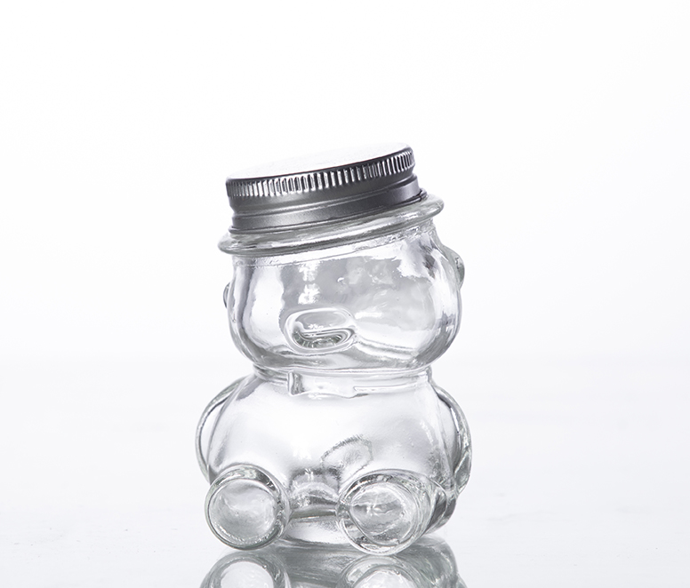 glass candy jar with aluminum cap