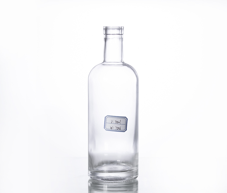 750ML corked glass gin bottle