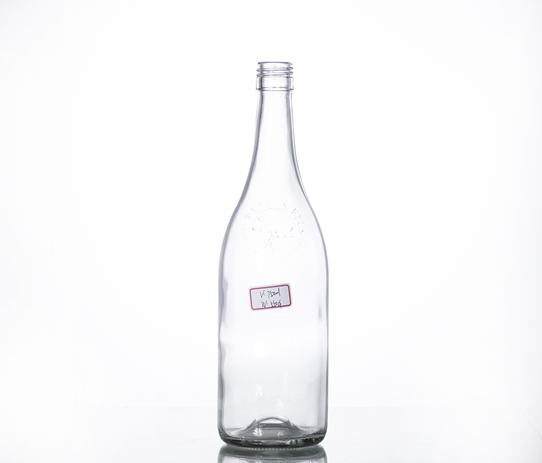 750ML clear vintage wine bottle