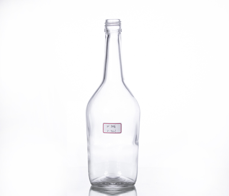 750ML clear liquor bottle
