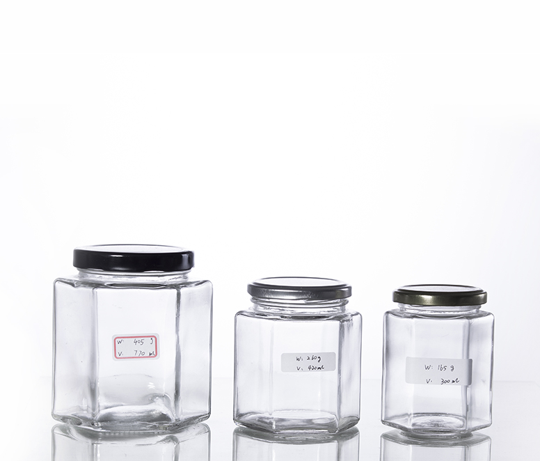 hexagonal glass honey jars with metal screw cap