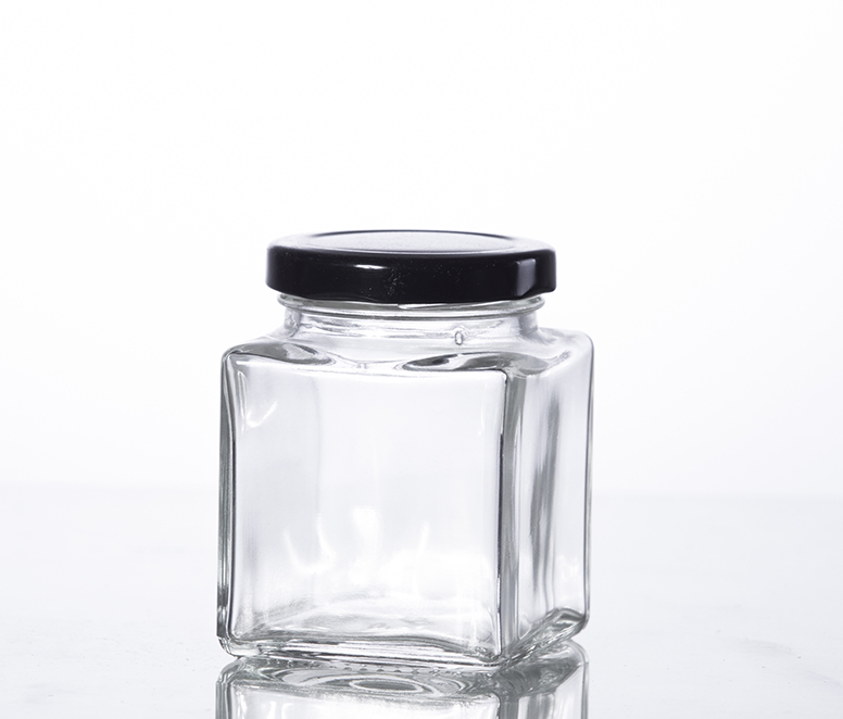 200ML classic square glass jam jar