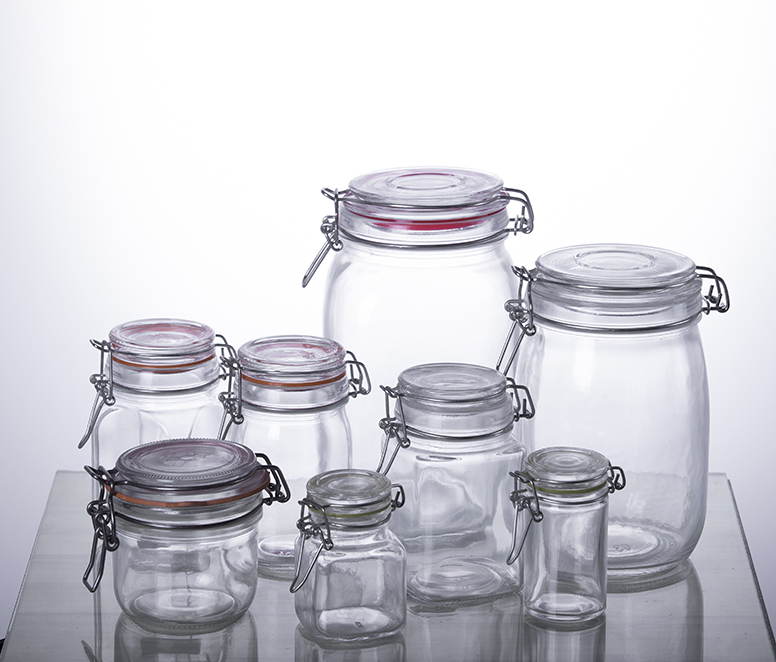 airtight glass storage jar with clip top lid
