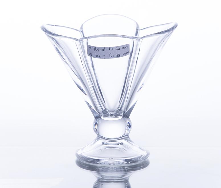 Transparent glass ice cream cup