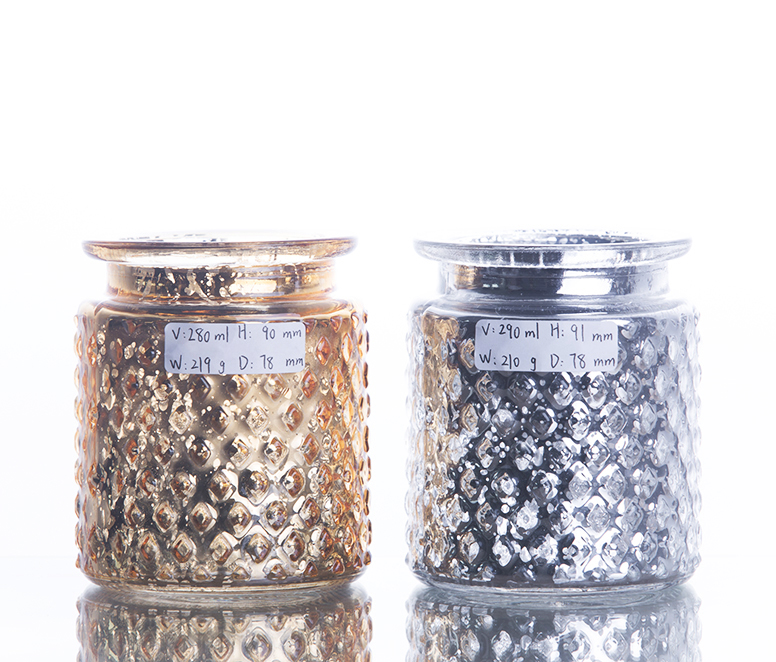 Exquisite Electroplated glass candle jar