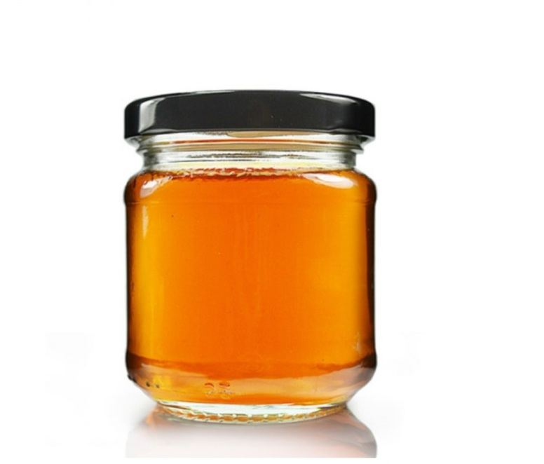 Glass HoneyJar With Golden Lids for Honey Bee