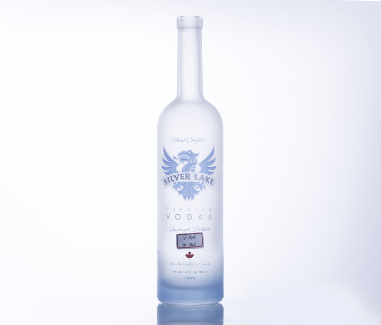 750ML Classic Frost and Screen Painting Glass Vodka Bottle