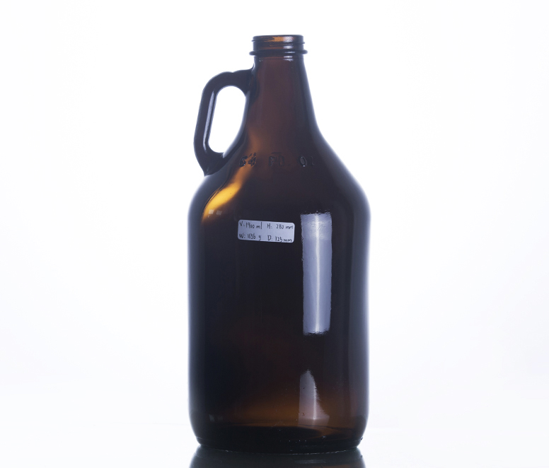 64OZ Big Amber Glass Jug With Finger Handle