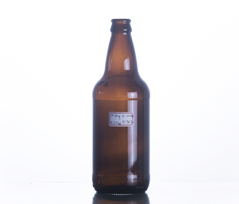 Crown Cap Amber Glass Beer Bottle