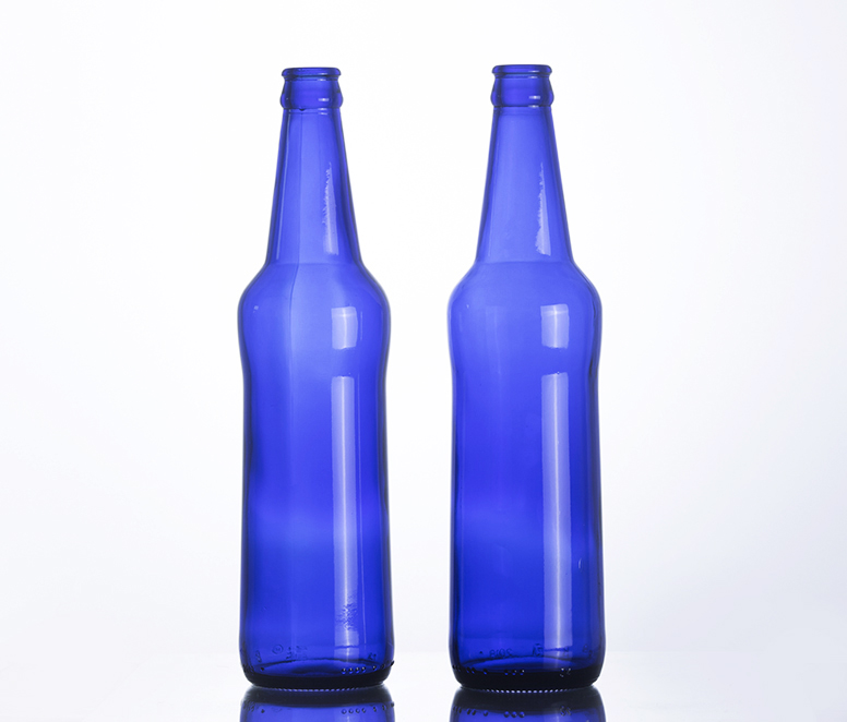 500ML Custom Made Blue Glass Beer Glass Bottle